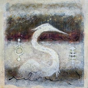 Winter Bird Mixed Media Painting